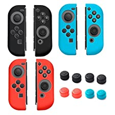 Insten [3 Pairs] Nintendo Switch Joy-Con [L/R] Cover With [4 Pairs] Thumb Grip Stick Caps For Nintendo Switch Joy Con Left/Right Controller [2017 New Release], Multi-color