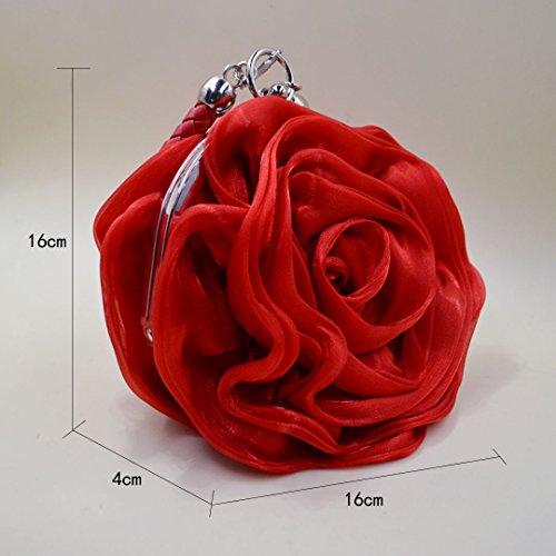 Satin Red Flower Wristlet Bag Mily Evening Shaped Womens CwnII5q0