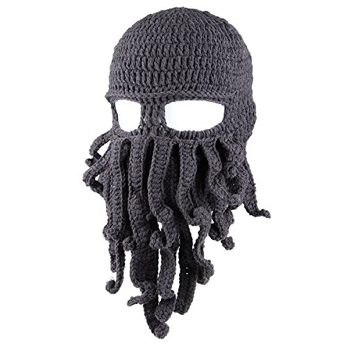 Kafeimali Men's Head Barbarian Vagabond Beanie Original Foldaway Beard Octopus Pirate Hats Bearded Caps (Grey)