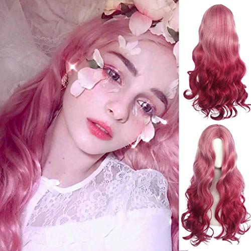 - Rose hair net Full Wig Smoky pink Long Curly Wavy Wig Women Sexy Natural Looking Wigs high temperature silk wig Natural Full Wig Breathable Wig for Costume Party/ Cosplay ( Gradient Red ) (red)