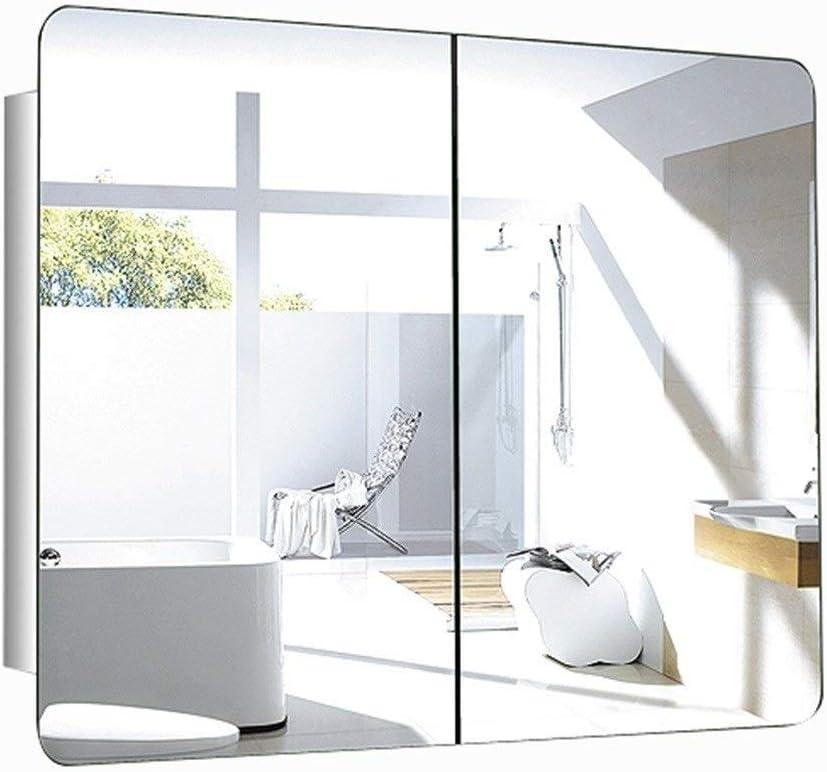 Armarios con espejo Espejo De Baño Gabinete Espejo del Acero Inoxidable Gabinete Dormitorio Espejo Gabinete con Espejo Tocador Espejo Gabinete (Color : A, Size : 80 * 60 * 13CM): Amazon.es: Hogar