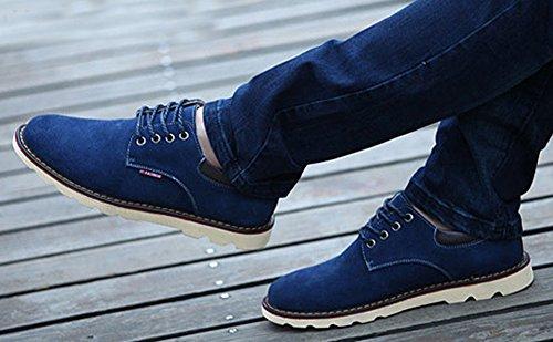 Aisun Mens Comfy Suede Leather Shoes Blue my8hfLS