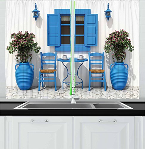 Travel Decor Kitchen Curtains by Ambesonne, Traditional Greek Design Holiday Summer House Flowers Window Image, Window Drapes 2 Panel Set for Kitchen Cafe, 55 W X 39 L Inches, Navy Blue and White