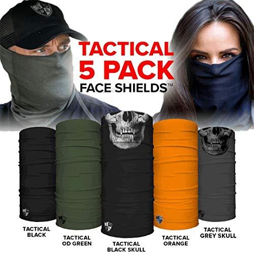 SA Face Shield for Men and Face Shield for Women Tactical 5 Pack of Multipurpose UV Face Shield - Worn 12+ Ways as Head Wrap, Neck Gaiter, Headband, Face Shield, Bandana, Balaclava Life Time Warranty