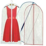 Hangerworld Pack of 12 Clear Zipped Dress Suit Coat Covers with Mixed Trim-60 Inches Long
