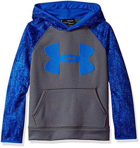 Under Armour Boys' Storm Armour Fleece Big Logo Printed Hoodie, Graphite/Ultra Blue, Youth Medium