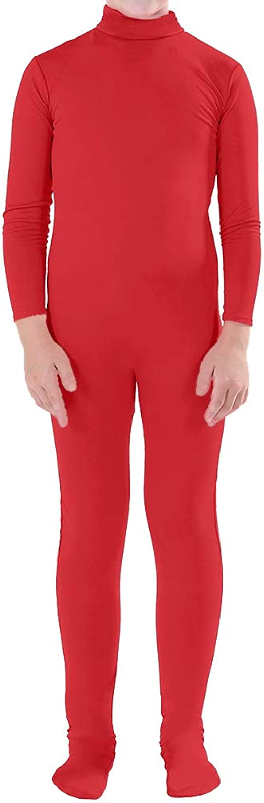 Muka Zentai Unitard Bodysuit Adulto Bambino Costume di Halloween Catsuit Dancewear Beige-Kid L