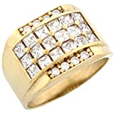 10k Gold CZ Cluster Hip Hop Bling Large Mens Ring