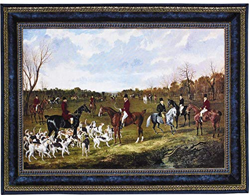 The Meet of The East Suffolk Hounds at Chippenham Park by John Frederick Herring - Woven Tapestry Wall Art Hanging - Victorian Dog Scene on Field - 100% Cotton USA Size 62x45 (East Suffolk Hounds)