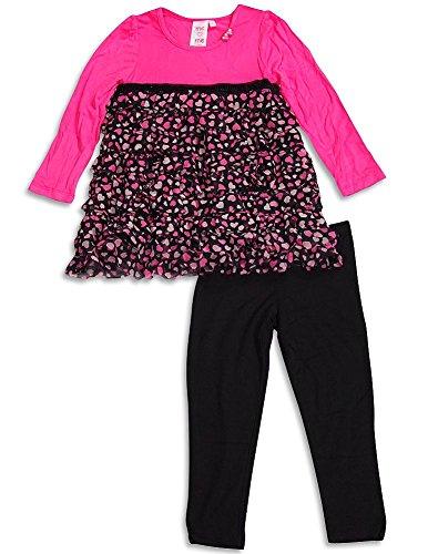 Me Me Me by Lipstik - Little Girls' Long Sleeve Heart Pant Set, Pink, Black, Top 95% Rayon 5% Spandex Legging 94% Rayon 6% Spandex 29753-4