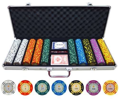 500 Piece Crown Casino Clay Poker Chips Set by JPC by JPC