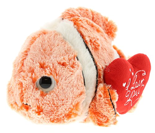 - DolliBu Clown Fish I Love You Valentines Stuffed Animal - Heart Message - 9 inch - Wedding, Anniversary, Date Night, Long Distance, Get Well Gift for Her, Him, Kids - Super Soft Plush