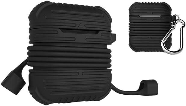 Navigatee Estuche De Silicona para Audífonos Bluetooth Nuevo Estuche Protector De Silicona Airpods para Audífonos Bluetooth + Funda Protectora De Silicona Anti-pérdida De Cordón para Apple AirPods: Amazon.es: Electrónica