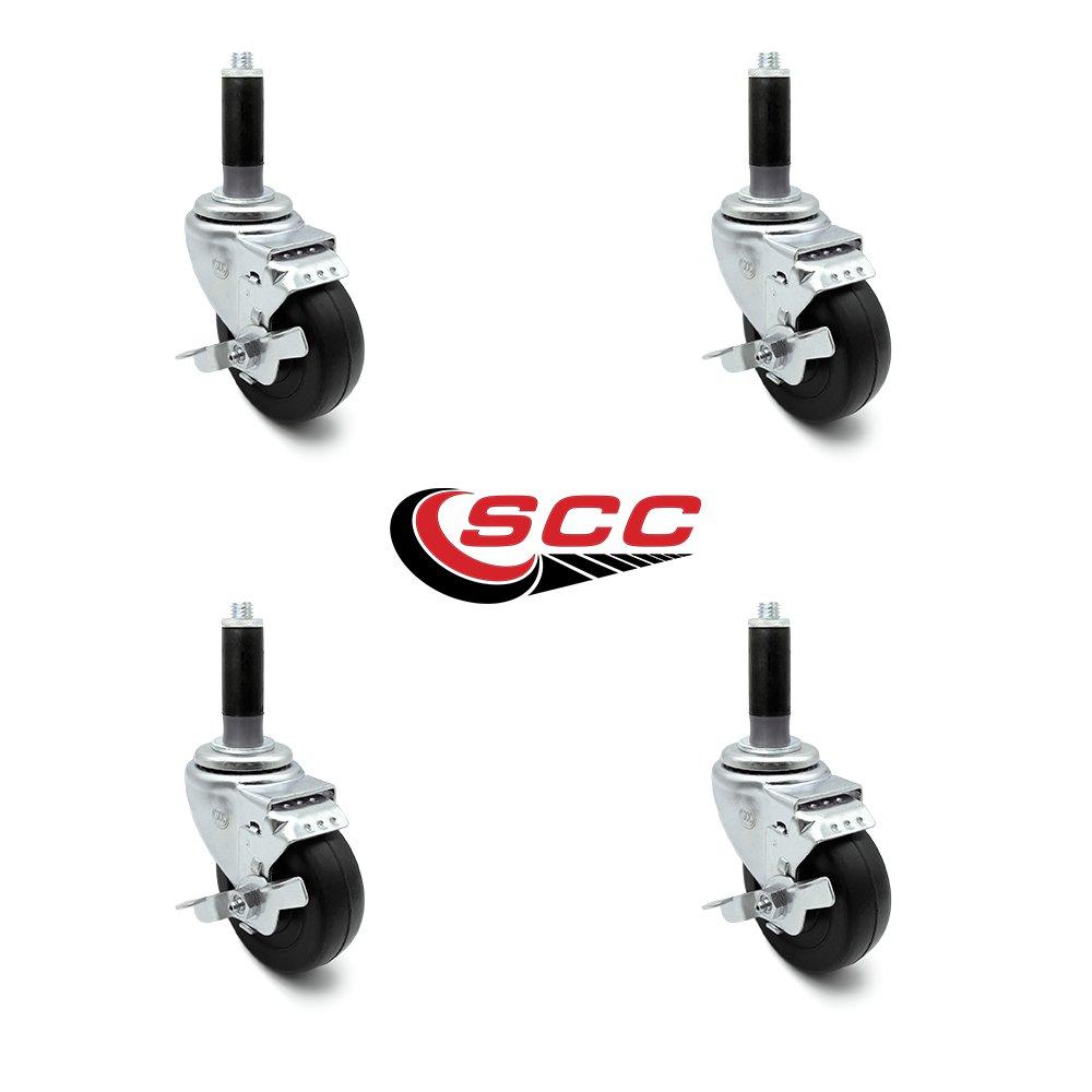 "275 lbs//Caster 3/"" x 1.25 Hard Rubber Wheel Swivel Caster w//1-1//4 Expanding Stem Service Caster"