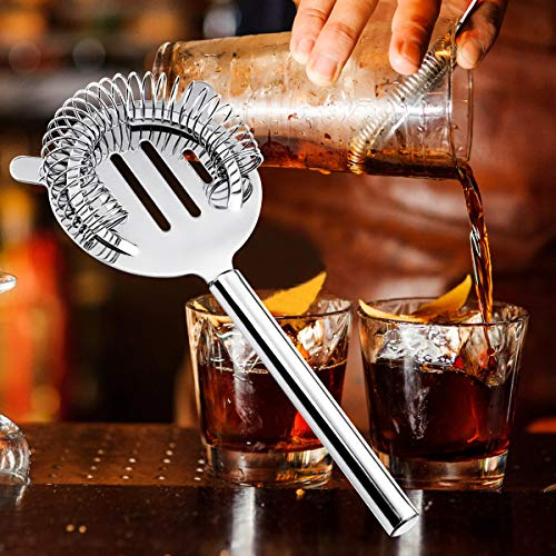 18oz Stainless Steel Cocktail Shaker Bar Set Tools with Martini Mixer Double Measuring Jigger/Mixing Spoon/Liquor Pourers/Muddler/Strainer and Ice Tongs Professional Bar Accessories (8 Piece Set) by Appolab (Image #5)