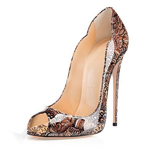 brown Stiletto Shoes Women's High Pumps Y Heel Peep Court Toe Soireelady vqp4wZRp