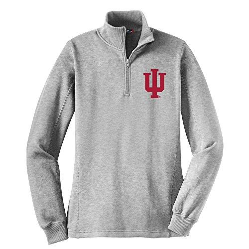 Campus Merchandise NCAA Indiana Hoosiers Women's 1/4 Zip Pullover, Medium, Athletic Heather