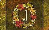 Toland Home Garden Fall Wreath Monogram J 18 x 30 Inch Decorative Autumn Floor Mat Colorful Leaves Doormat
