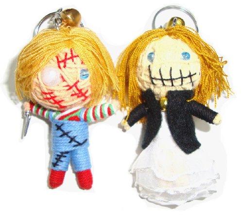 Chucky & Tiffany 2pcs/set Voodoo String Doll Keyring Keychain (Chucky Dolls)