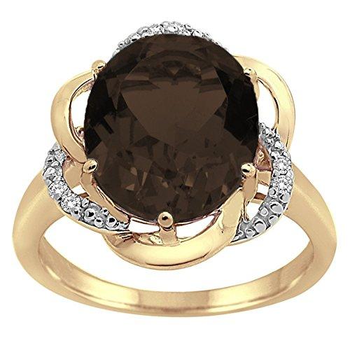 Smokey Quartz and Diamond Flower Ring in 10K Yellow - Ring 10k Quartz