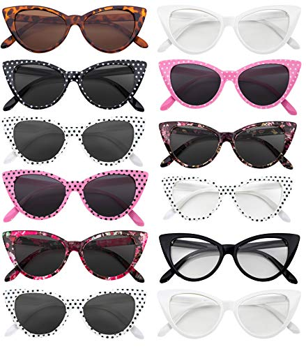 OWL Cat Eye Sunglasses Clear Smoke Mix (12 Pack)