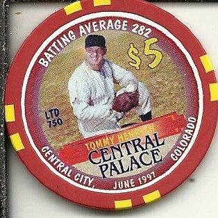 $5 central palace tommy henrich june 1997 baseball central city colorado casino chip obsolete