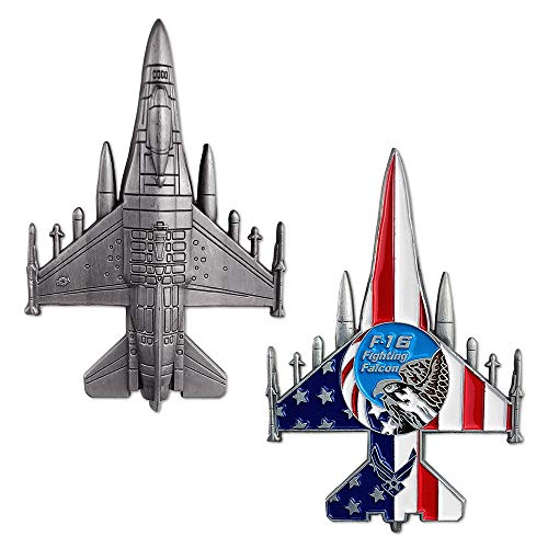 (US Air Force F-16 Fighting Falcon Challenge Coin Military Aircraft Shaped Airman Gift )