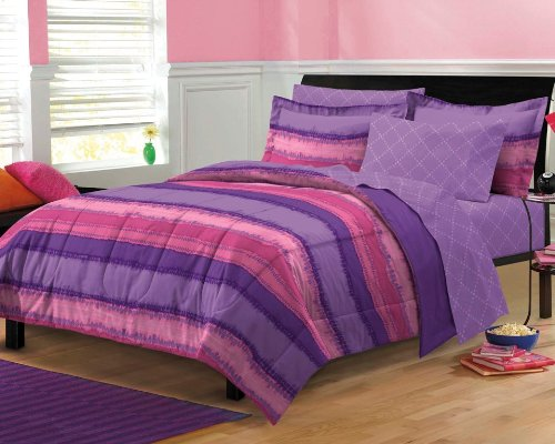 My Room Tie Dye Ultra Soft Microfiber Comforter Sheet Set, Multi-Colored, Full (Full Bed Sets For Teenage Girls)
