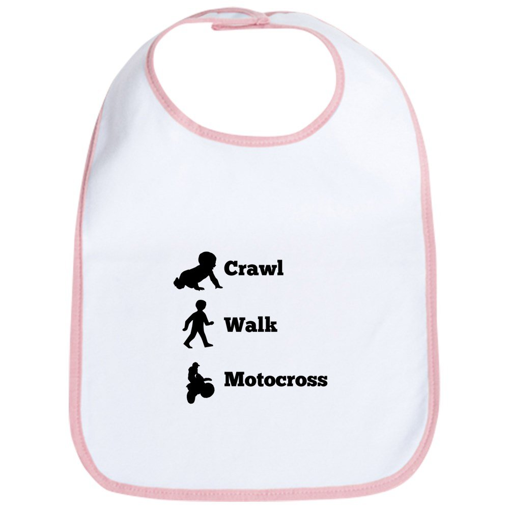 CafePress - Crawl Walk Motocross Bib - Cute Cloth Baby Bib, Toddler Bib
