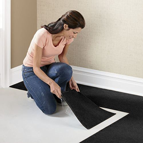 "Houseables Carpet Tiles, Peel And Stick Floor Tile Squares, 144 Pack, Black, 12"" x 12"", 144 Sq. Ft, Self Adhesive Polyester, Commercial Grade, For Home, Living Room, Flooring, Garage, Basements"