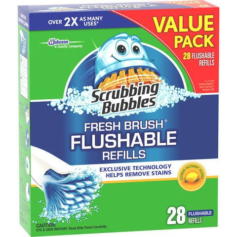 Scrubbing Bubbles Toilet Fresh Brush Flushable Refills, Citrus Scent, Pack of 84 Count