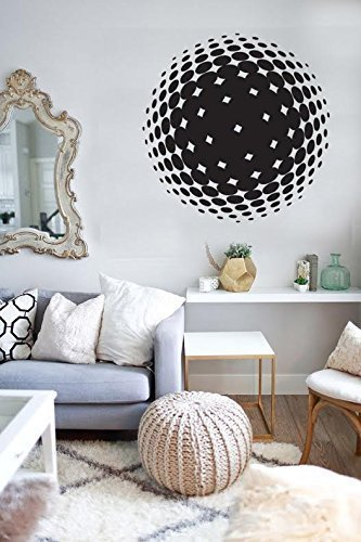 Half Sphere Wall - Vinyl Sticker Sphere Half Tone - Wall Decor - Wall Decal - 13inch x 13inch