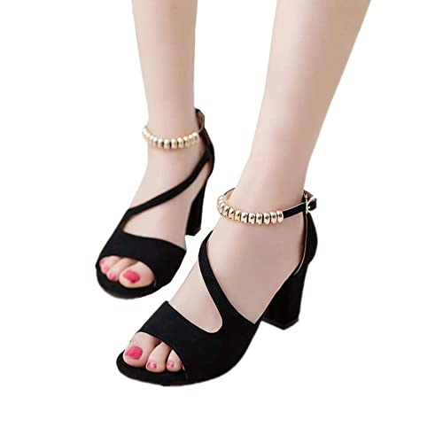 250db3d88216 chegong Women s Ankle Strap Cut Out Open Toe Chunky Heel Sandals Black 38