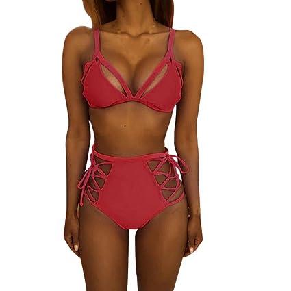 Manadlian_Traje de baño Bikini Trajes de baño Mujer, Mujer Sexy Bikini Traje de baño Bikini de Mujer Elástico Escotado por detrás Ropa de Playa (XL, ...