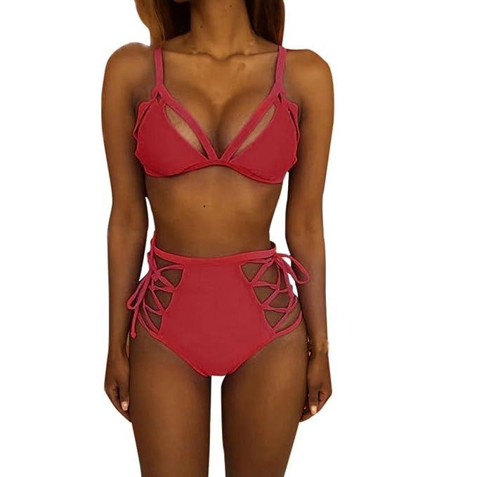 df91ca4fc8f7 OHQ Bikini Donna Fascia Alta A Vita Alta Costume da Bagno Imbottito Push-Up  Imbottito