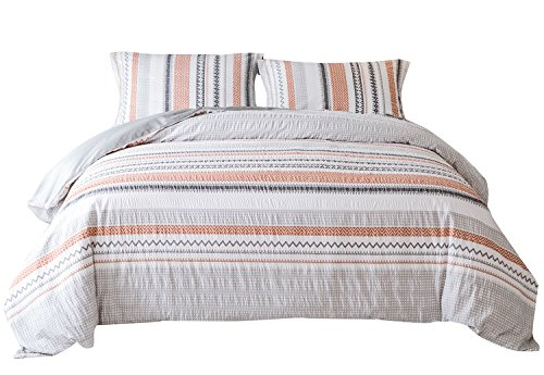 PHF Printed Seersucker Duvet Cover Set 100% Cotton Queen Size Orange Red