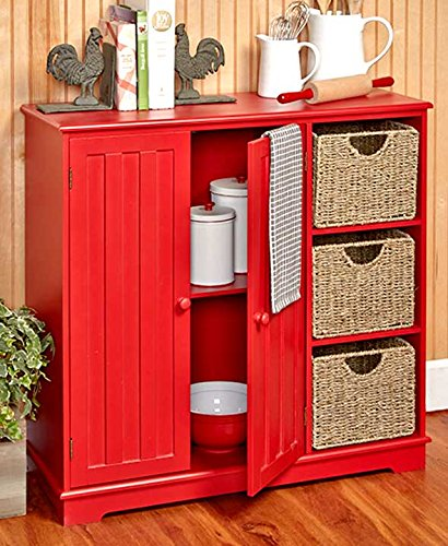 The Lakeside Collection Beadboard Storage Unit Red