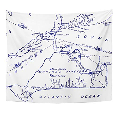 Semtomn Tapestry Artwork Wall Hanging Weddings Martha Vineyard Vintage Map Navy Blue Preppy Engagement 50x60 Inches Tapestries Mattress Tablecloth Curtain Home Decor Print]()