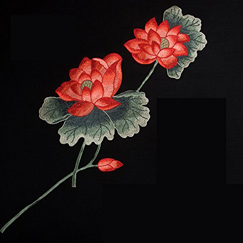 Emmas HANDMADE Fabric Lotus Flower Appliques Sewn On Clothing Patches Embroidered Decoration (Red) (Lotus Fabric)