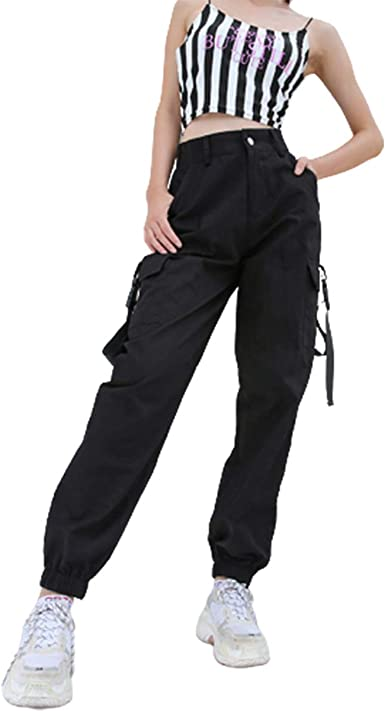 Girl High Waist Pants Hip Hop Style Loose Fit Elastic Waist Cargo Pants LD