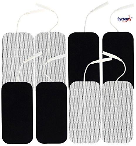 Syrtenty Premium Tens Unit Electrodes 2 X4  Rectangular 8 Pack Electrode For Tens Massage Ems   100  Satisfaction Guarantee