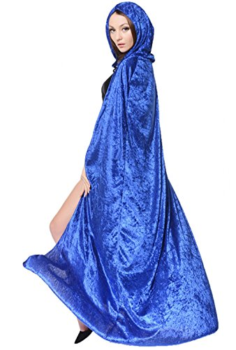 Fairy Godmother Cape (Unisex Adult's Hooded Robe Cloak Long Velvet Cape Halloween Christmas Party Cosplay Witch Death Costume Full)