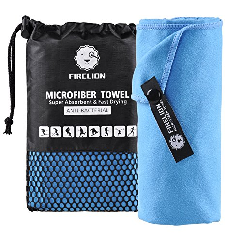 FIRELION Microfiber Towels for Travel Sports - Fast Drying Super Absorbent Ultra Soft Compact Lightweight Multi-Purpose - Suitable for Camping, Gym, Beach, Swimming, Backpacking, Hiking, Yoga
