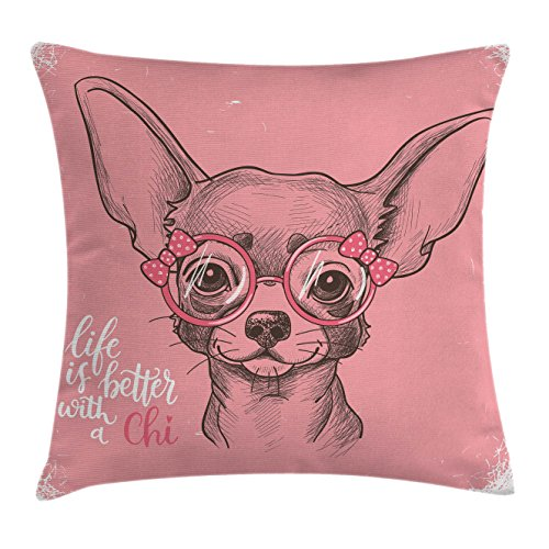 Dog Throw Pillow Cushion Cover by Ambesonne, Girl Chihuahua
