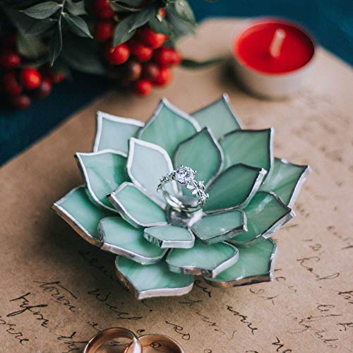 (Wedding Ring Dish | Green Opalescent Glass Succulent Ring Holder Dish | Engagement Ring Dish | Wedding Ceremony Decor | Ring Bearer Pillow Alternative | Spring Wedding Decor | Morning Beauty)