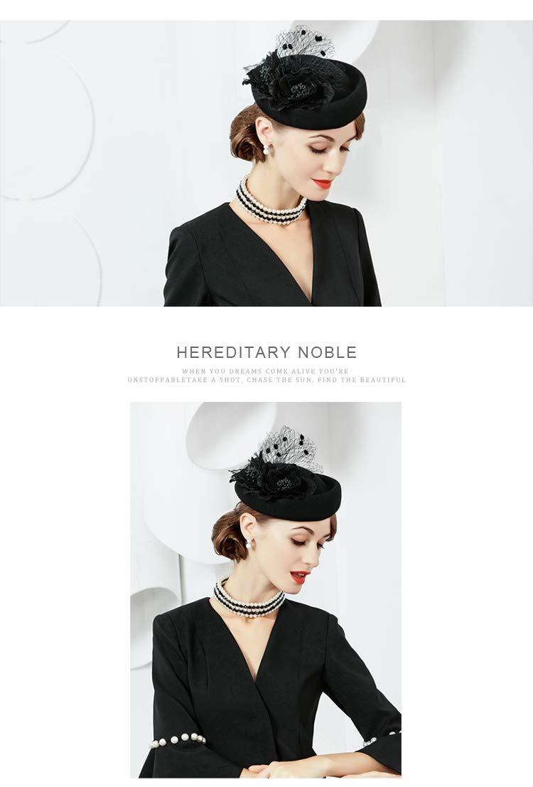 Fascinator Hat for Women Elegant Wool Felt Pillbox Hat with Flowers Ladies Wedding Party Fedoras Derby Cap Black