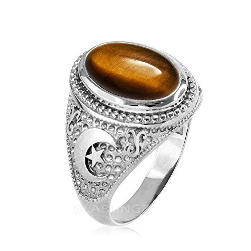 Sterling Silver Tiger Eye Islamic Crescent Moon Ring (9) (Transparent Mens Ring)