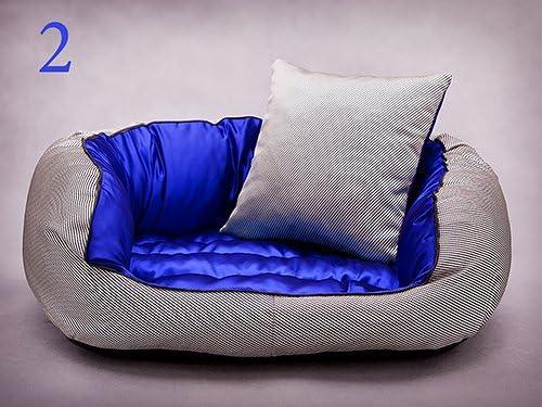 cama para perro con cojín plateado con interior azul