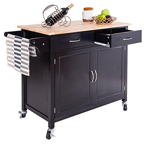 ing Cart w/2 Drawers 2-Door Cabinet Adjustable Shelf Wood Top Island Serving Utility Storage Cart w/Lockable Wheels Towel Rail Handle (Dark Brown) (2 Drawer Kitchen Cart)