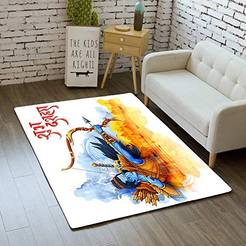 iBathRugs Door Mat Indoor Area Rugs Living Room Carpets Home Decor Rug Bedroom Floor Mats,Illustration Lord rama Navratri Festival